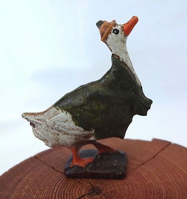 Vintage Painted Cast Metal Miniature Dressed GOOSE w/cape+hat Figurine