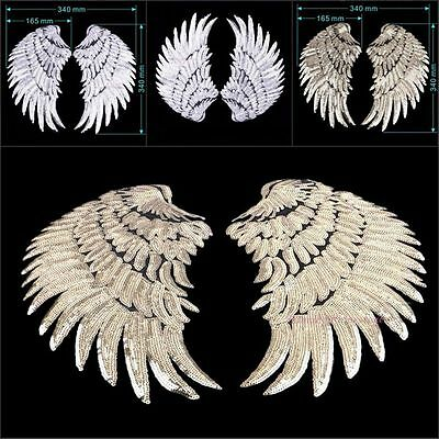 1Pair Decor Iron-On Embroidered Patch Angel Wings Sequins Applique Motif