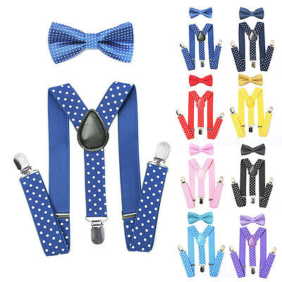 Unisex Baby Kids Adjustable Dot Suspender Bow Tie Set Tuxedo Wedding Suit Party