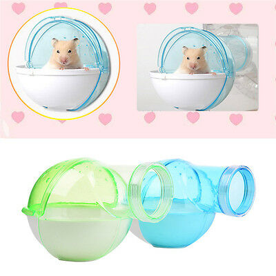 New Plastic Hamster Bathroom Shower Rat Bath Toilet Cage Accessories Blue/Green