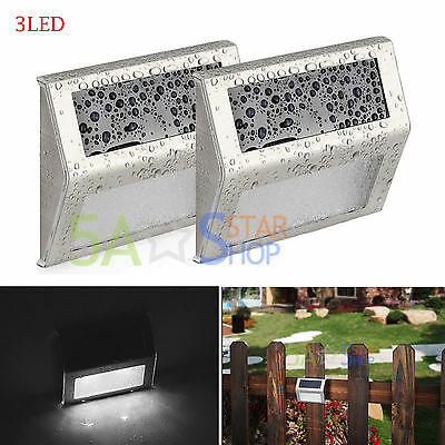 2X 3LED Solar Power Wall light Pathway Step Stair Garden Yard Lamp Waterproof AU