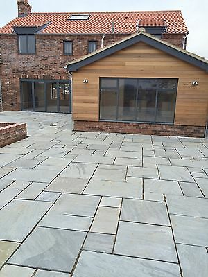 Indian Sandstone Paving Natural Slabs Kandla Grey Patio Pack 16.06 Sqm