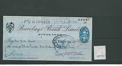 wbc. - CHEQUE - CH1164- USED -1944 - BARCLAYS BANK, KING'S LYNN