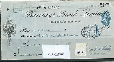 wbc. - CHEQUE - CH1165- USED -1944 - BARCLAYS BANK, KING'S LYNN - CREASED