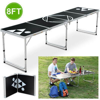 8FT Folding Beer Pong Table Portable Party Drinking Games Garden/BBQ Black