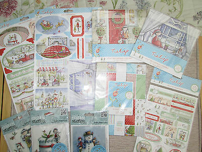 DOCRAFT BUMPER CHRISTMAS  PACK DECOUPAGE, DIE CUT TOPPERS LINEN PAPER PACKS etc