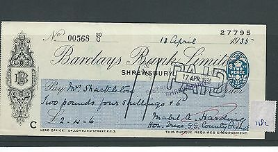 wbc. - CHEQUE - CH1182- USED -1935 - BARCLAYS BANK, SHREWSBURY