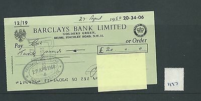 wbc. - CHEQUE - CH1197- USED -1967/68- BARCLAYS BANK, GOLDERS GREEN, LONDON NW11