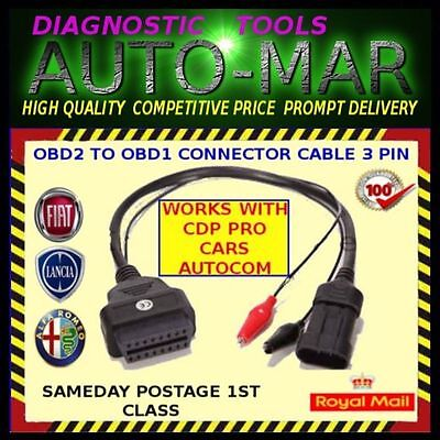 Alfa Romeo 3 Pin Obd1 Adaptor Diagnostic Cable 145 146 155 164 Gtv Spider
