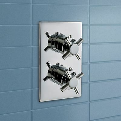 Cross 2 Dial 1 Way Chrome Concealed Thermostatic Shower Mixer Valve Bathroom