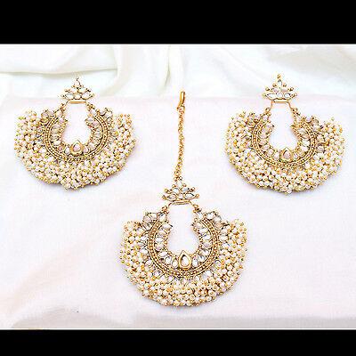Indian Ethnic Bollywood Jadau Pearl Beads Forehead Maang Tikka Earring Set Jewel