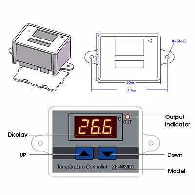 220V 10A Digital LED Display Temperature Controller Button Switch White