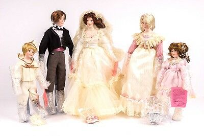 Paradise Galleries Porcelain Dolls Victorian Bridal Party Bride, Groom, Maid...