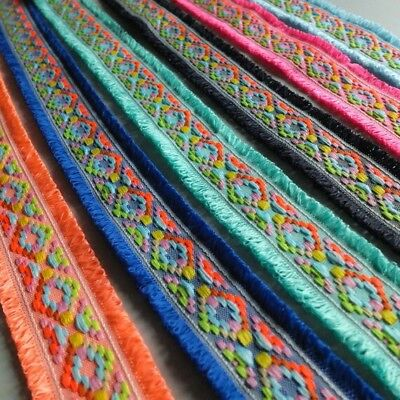 Neon Woven Jacquard Double Edge Fringe Ribbon Trim - By The Metre - 45mm wide