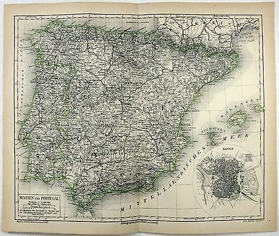 Original 1878 Map of Spain and Portugal by Meyers.