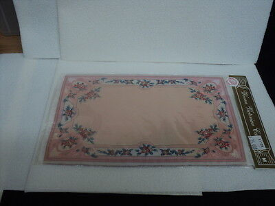 Dollhouse Area/accent Rug- Very Pale Peach,pink,red Floral