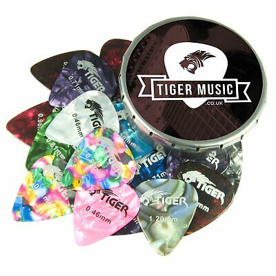Tiger Guitar Plectrums with Pick Tin - 25 Medium Guitar Picks