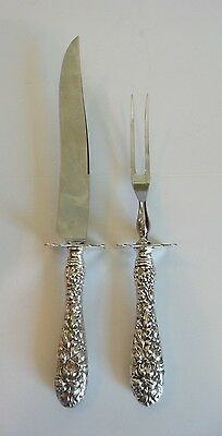 """2-PC. STIEFF """"ROSE"""" STERLING SILVER REPOUSSE ROAST CARVING SET, 270 grams"""