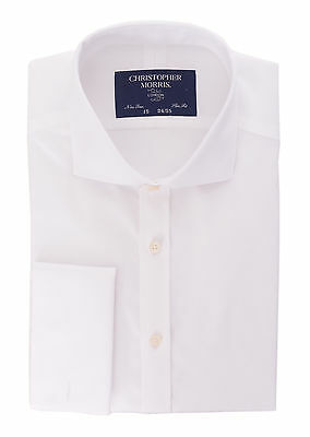 CML Slim Fit Solid White Spread Collar French Cuff Non Iron Cotton Dress Shirt