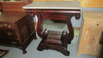 Antique Mahogany Empire Petticoat Table or Console Hall Table