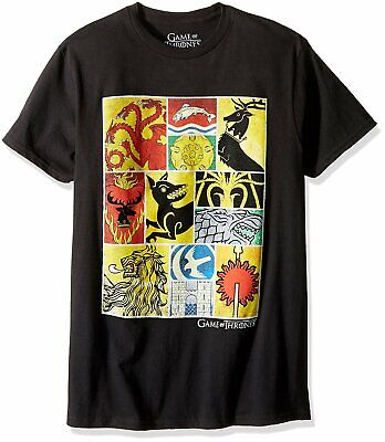 Authentic GAME OF THRONES HBO Multi House Sigils T-Shirt Black S-2XL NEW