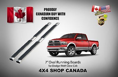"""09-15 Dodge Ram Crew Cab 7"""" Oval OE Style Running Boards Side Step Bar Nerf Bars"""