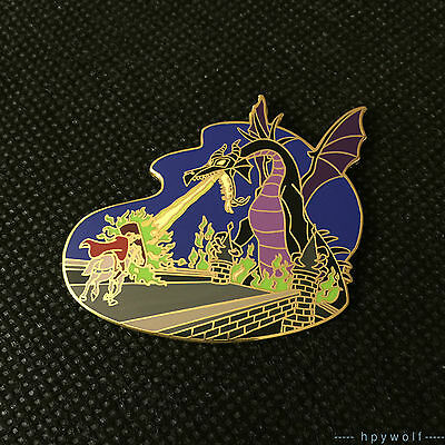 Disney Auctions MALEFICENT DRAGON & PRINCE PHILLIP Sleeping Beauty LE 500 Pin