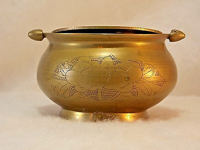 Vintage Solid Brass Tilt Top Etched Ashtray Decorative Collectible