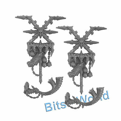 WARHAMMER BITS: WARRIORS OF CHAOS BLOODREAVERS - BANNERS x2 & HORNS x2