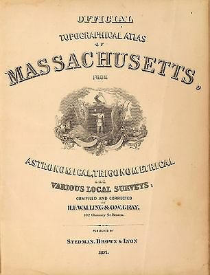 1871 MASSACHUSETTS STATE map old GENEALOGY GHOST TOWNS TREASURE HUNTING DVD S7