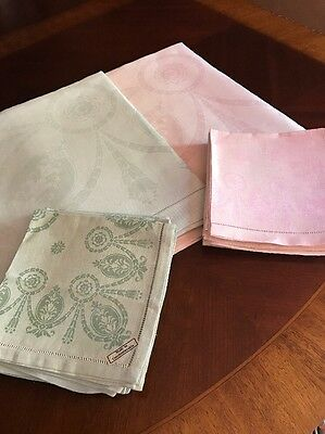 "2 Antq/Vintage Czech Damask Linen Tablecloths Each 60"" Sq 12 Napkins Pink Green"