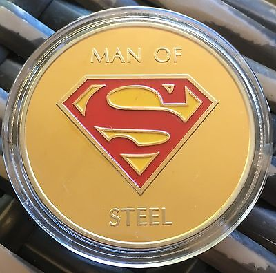 Superman Man Of Steel Coin Medallion Movie Finished In Gold 24k .999 1oz 40mm