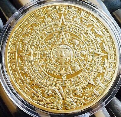 The Prophecy Mayan Aztec Coin Finished In Gold .999 1oz 40mm Medallion Capsule