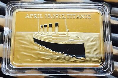 R.M.S TITANIC Ingot Bar Finished In 24k Gold .999 1oz Collectable SALE ✔️ Coin