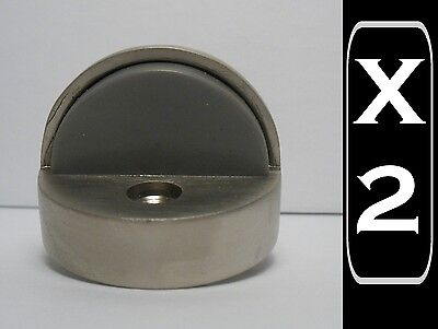 2 New Onward high profile Domed Door stop stoppers, brushed nickel satin finish