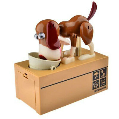 Lovely Dog Puppy Bank Saving Box Dog Stealing Coin Money Penny Cents For Kids