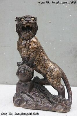"15"" Chinese Fengshui Bronze Zodiac Animal Tiger Uphill Lucky Figurine Statue"