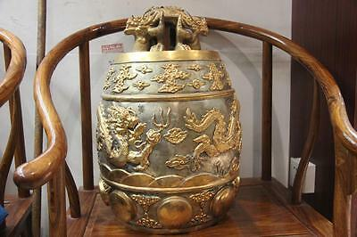 Chinese Temple Handmade engraved Bronze 24K Gold Gilt Dragon Buddha Huang Bell
