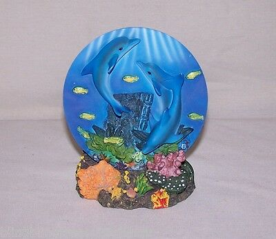 Trio Of Swimming Dolphins On A Mini Plate With Stand