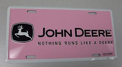 John Deere Nothing Runs Like a Deere Licence Plate Embossed - Pink