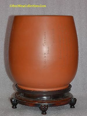 Huge Chinese PROC PreCultural Revolution Yixing Vase Grandmaster? Signed w/Stand