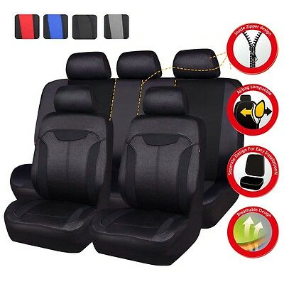 Universal Car Seat Covers Black For Honda Civic Toyota Airbag Like Leather Full