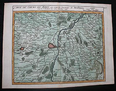 Original Antique Map from 1748 of Strasbourg by Vaugondy