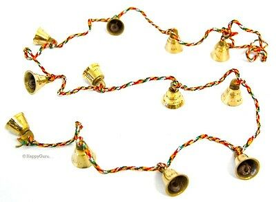 Indian Hippy Brass Bells On String (12 Small Bells)