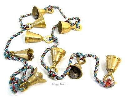 Indian Hippy Brass Bells On String (9 Large Bells)