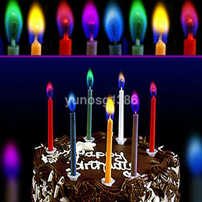 6PCS/Set Colored Flame Birthday Cake Candles Kids Adults Novelty Fun Party Magic
