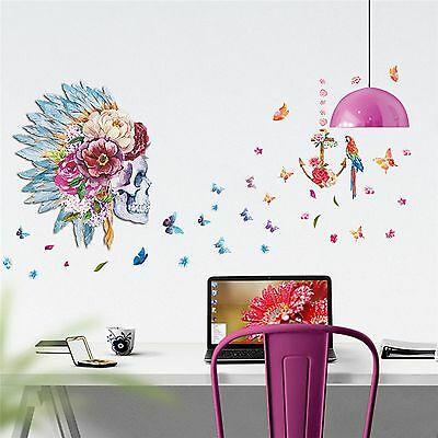 1e145d83b Large Skull Wall Decal Indian Feathers Shaman Butterfly Teen Sticker  Removable