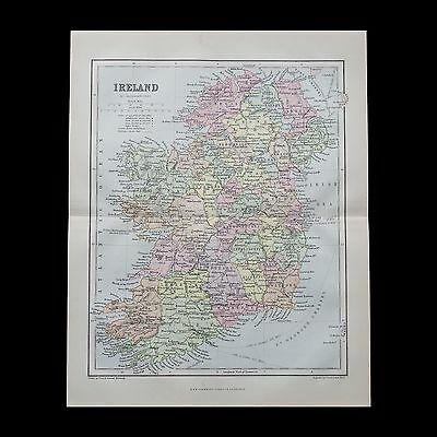 Antique 1883 colour map of IRELAND - 130+ years old & VGC !