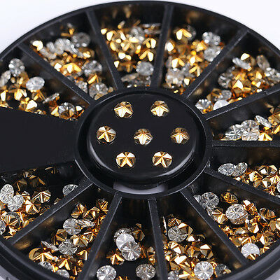 Nail Rhinestones Gold 3D Nail Art Decoration in Wheel Round Manicure Crafts
