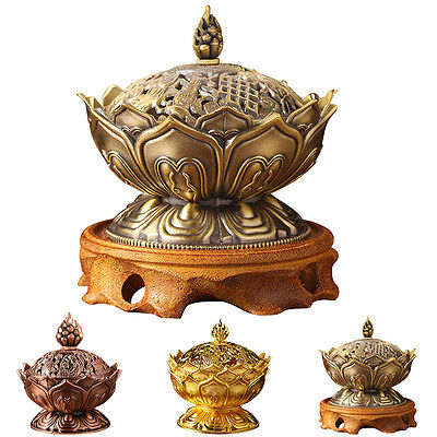 Incense Burner Alloy Chinese Lotus Hollow Cover Aromatherapy Censer Cone Holder